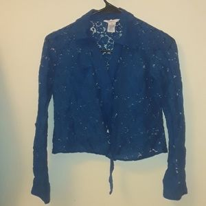 All lace long sleeved button up